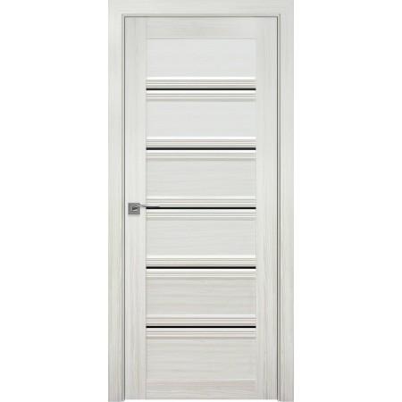 Двери межкомнатные Виченца perla bianco с черным стеклом