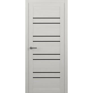 Двери межкомнатные Albero Дублин белые с черным стеклом Vinil