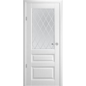 Двери межкомнатные Albero Эрмитаж 2 белые со стеклом Ромб Vinil