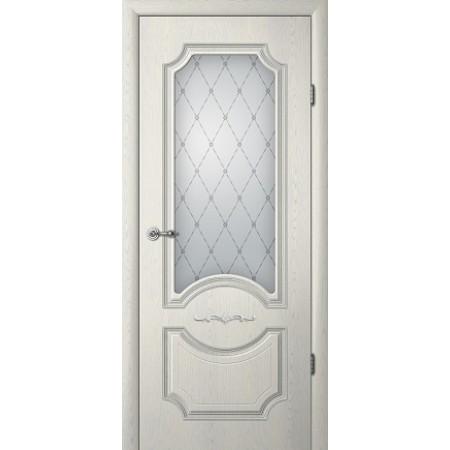 Двери межкомнатные Albero Леонардо ясень грей патина со стеклом Vinil