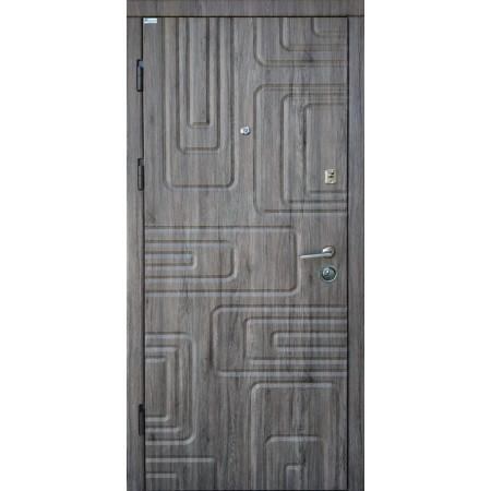 """Двери входные """"АКЦЕНТ NEW""""  Наружная отделка дуб английский  Внутренняя дуб английский 850(950)*2030мм  для квартиры Производитель Steel Art"""