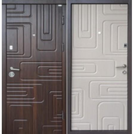 """Двери входные """"АКЦЕНТ NEW""""  Наружная отделка орех мореный Внутренняя дуб цинамон 850(950)*2030мм  для квартиры Производитель Steel Art"""