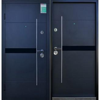 Двери входные Елис Черная шагрень 880*2040мм  для квартиры Производитель Steel Art Распродажа