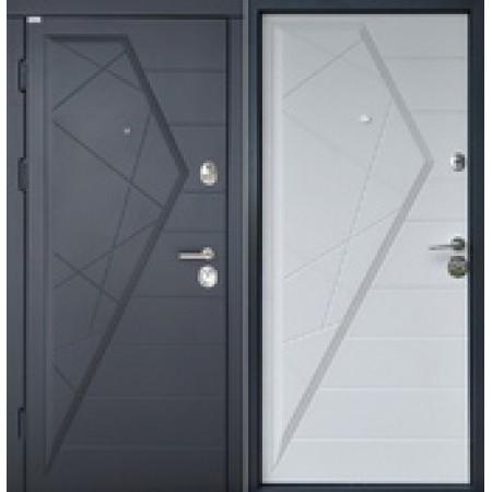 Двери входные Айсберг, Двухцветная Наружная накладка Графит, Внутренняя накладка белый матовый 850(950)*2030мм
