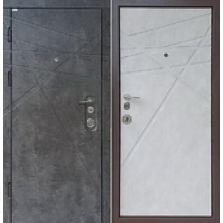 Двери входные троя DG-41 850(950)*2030мм  для квартиры Цвет внутри  Бетон Цвет снаружи  Мрамор темный Производитель Steel Art