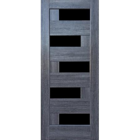 Двери межкомнатные Пиана с черным стеклом грей New