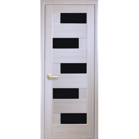 Двери межкомнатные Пиана с черным стеклом ясень New