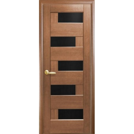 Двери межкомнатные Пиана с черным стеклом золотая ольха