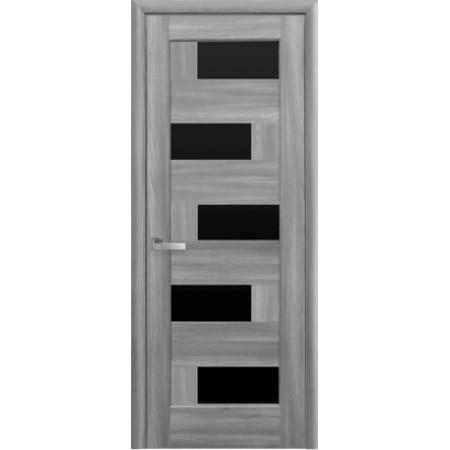 Двери межкомнатные Пиана бук пепельный с черным стеклом