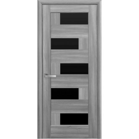 Двери межкомнатные Новый Стиль Пиана с черным стеклом бук пепельный