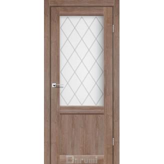 Двери GALANT GL-01 Орех бургун со стеклом сатин белый + D1 ромб графит