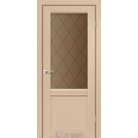 Двери GALANT GL-01 Дуб боровой со стеклом сатин белый + D1 ромб графит