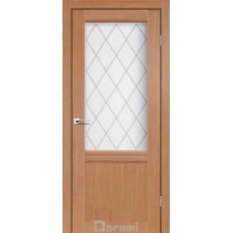 Двери GALANT GL-01 Дуб натуральный со стеклом сатин белый + D1 ромб графит