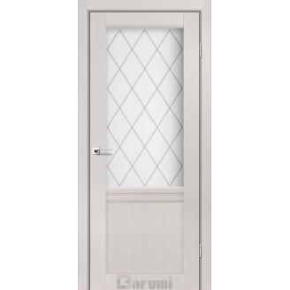 Двери GALANT GL-01 Дуб ольс со стеклом сатин белый + D1 ромб графит
