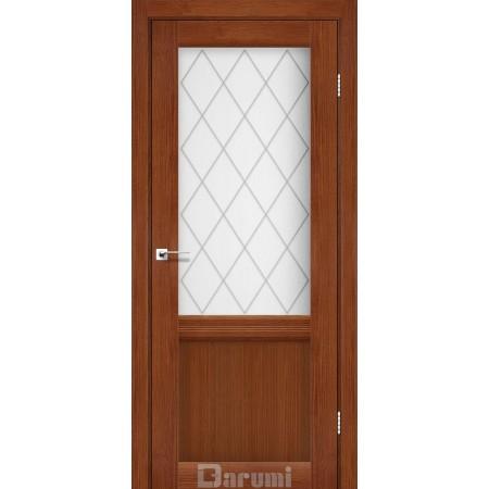 Двери GALANT GL-01 Орех роял со стеклом сатин белый + D1 ромб графит