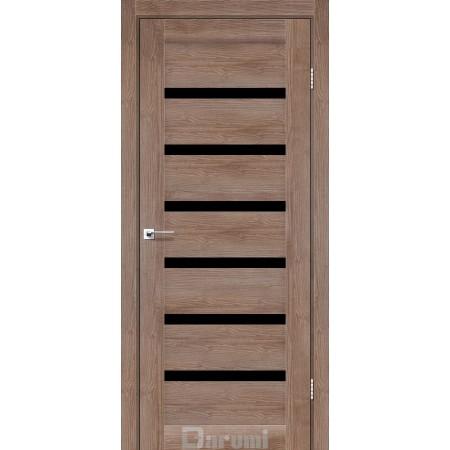 Двери VELA Орех бургун стекло черное «Lacobel»