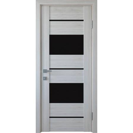 Двери межкомнатные Новый Стиль Аскона с черным стеклом ясень New