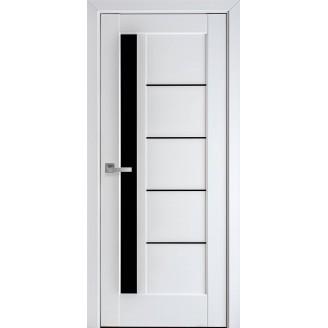 Двери межкомнатные Грета  белый мат с черным стеклом