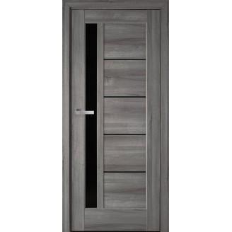 Двери межкомнатные Грета бук пепельный с черным стеклом