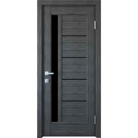 Двери межкомнатные Грета  грей New  с черным стеклом