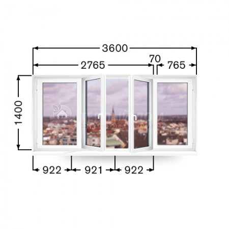 Балконная рама Виконда Классик. Размер 1400мм  х 3600мм