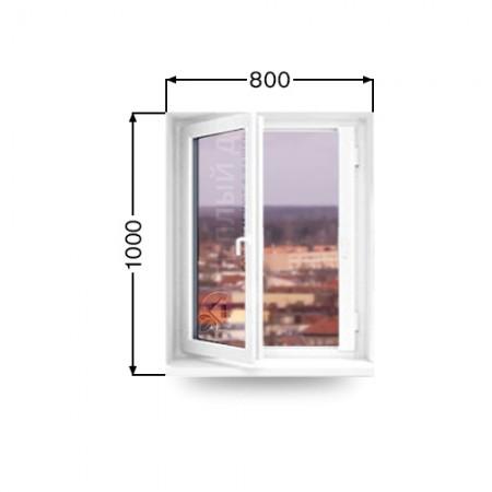 Окно поворотно - откидное REHAU  Размер 800мм х 1000мм