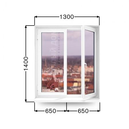 Окно Виконда классик две створки: левая глухая, правая поворотно-откидная 1300мм  х 1400мм