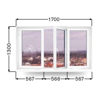 Окно Veka трехстворчатое. Размер 1700мм х1300мм