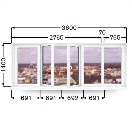 Балконная рама REHAU. Размер 1400мм  х 3600мм