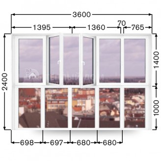 Французский балкон Виконда. Размер  3600мм  х  2400мм
