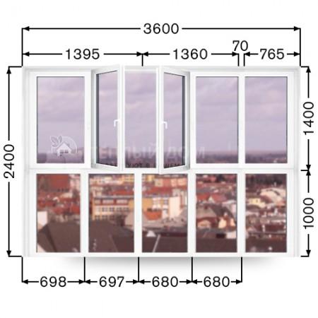 Французский балкон REHAU. Размер  3600мм  х  2400мм
