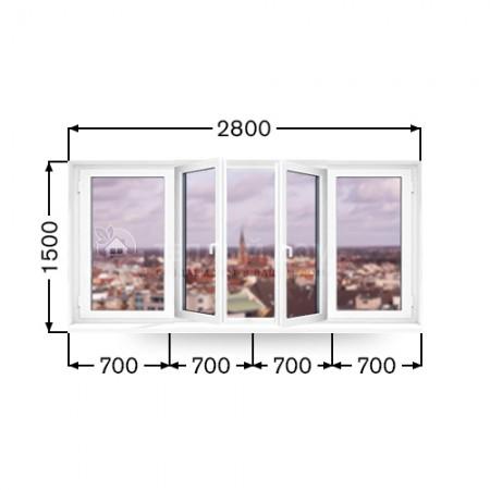 Балконная рама Виконда Классик. Размер 1500мм х 2800мм